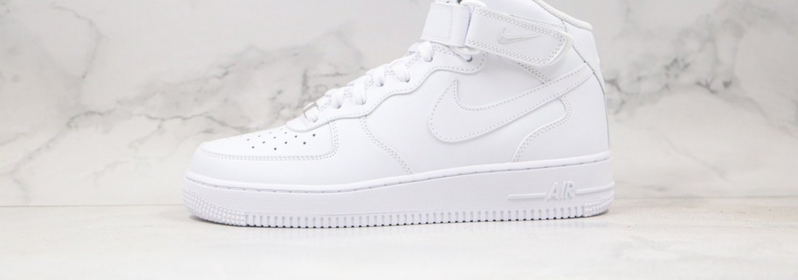 "Nike Air Force 1 Mid ""All White"" Running Shoes"
