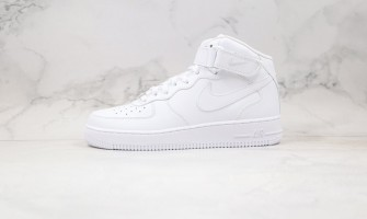"""Nike Air Force 1 Mid """"All White"""" Running Shoes"""