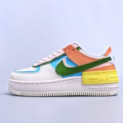 WMNS Air Force 1 Shadow White Multi Orange Custom